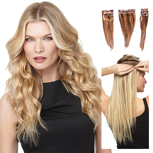 HairDo Extensions : 18 Inch Remy Human Hair 10 pc Extension Kit (#H1810P)