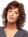 Jon Renau Wig Caz is a shoulder-length, curly bob style with side and crown layers for added volume and body.