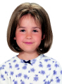 Jon Renau Children's Wig Katie is a cute and versatile bob style with skin top (model is seen here showing her natural bangs).