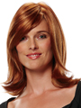 Jon Renau Wig Faye is a shoulder-length style that tapers to a slight flip with a monofilament top construction for styling versatility.